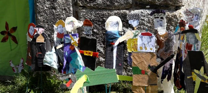 Puppets outside the Well ready for the performance