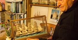 Robbie Tatlow with one his his model ships