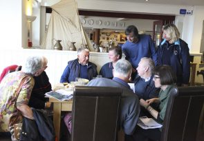 Sharing stories & photographs at the Cricket Inn, Beesands