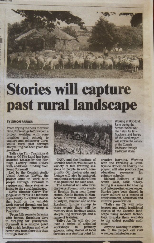 Clipping from the Western Morning News- November 2012