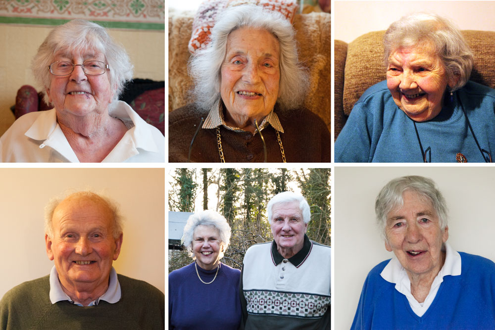 From L-R, top-bottom- Ada Martin, Pamela Bousfield, May Garland, Joe Skinner, Avis & Rod Thomason and Tegwyn Owen